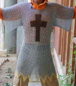 Templar chainmail shuirt in zinc silver finish with black cross