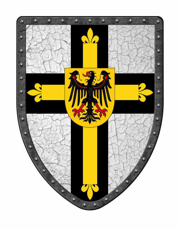Teutonic Knights medieval shield in black, yellow and white on crackle field