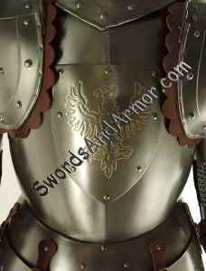 White Knight Suit of Armor Torso Closeup - Eagles Emblem